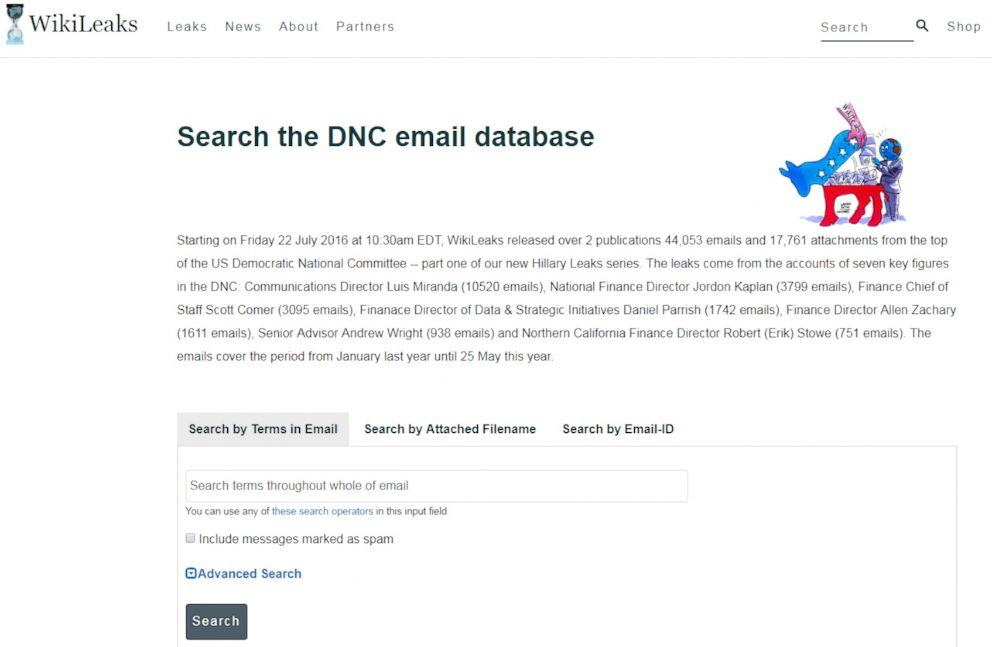 PHOTO: A screen grab taken from WikiLeaks on Dec. 10, 2018, shows the sites search engine for DNC emails.