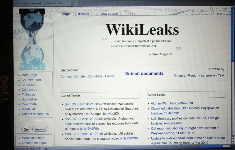 PHOTO: The homepage of the WikiLeaks.org website is seen on a computer after leaked classified military documents were posted to it, July 26, 2010, in Miami.