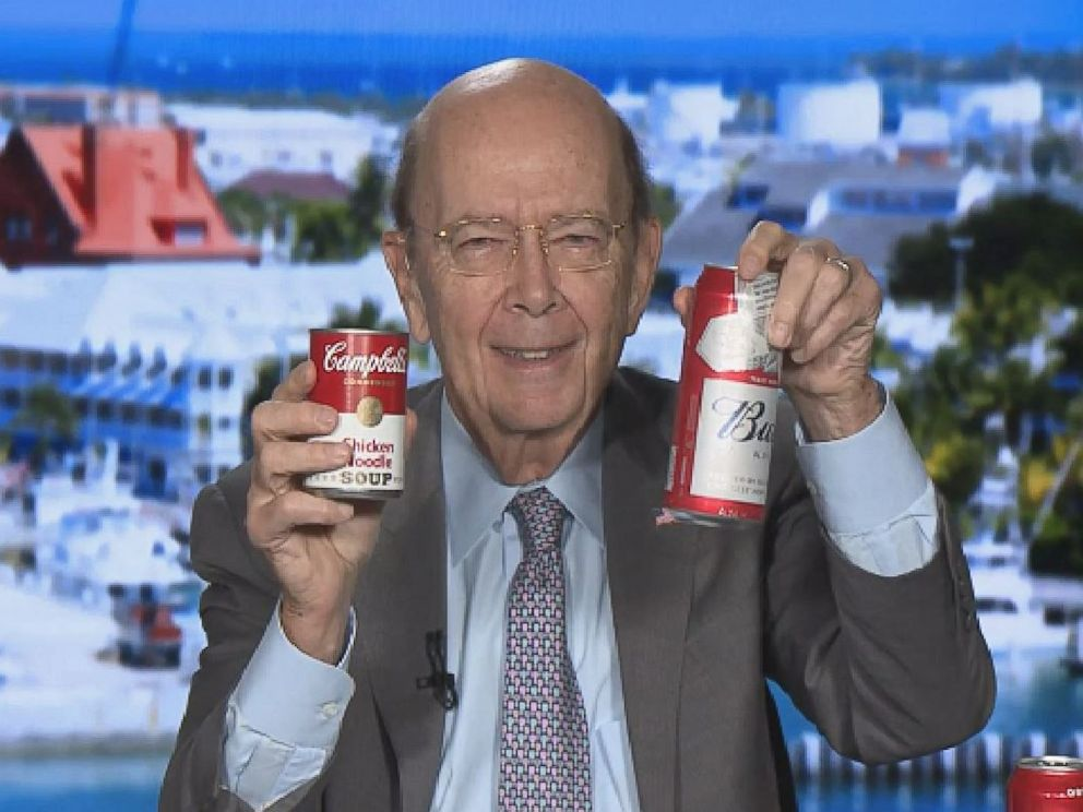 PHOTO: U.S. Commerce Secretary Wilbur Ross uses a can of Campbells Soup to defend steel and aluminum tariffs in this screen grab from CNBC, March 2, 2018.