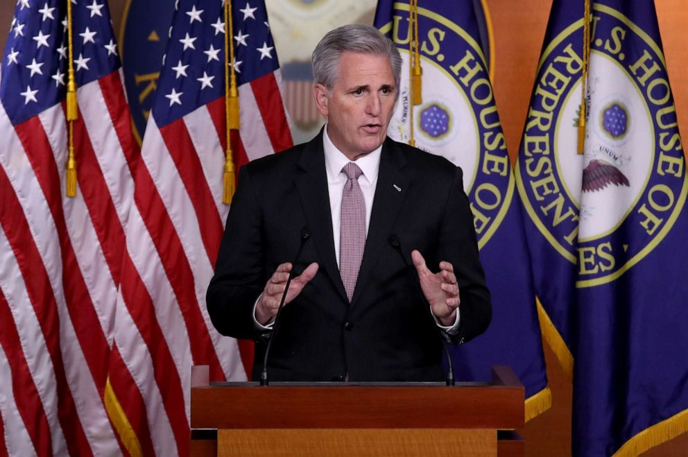 House Minority Leader Kevin McCarthy (R-CA) answers questions during his weekly news conference at the Capitol, March 28, 2019.
