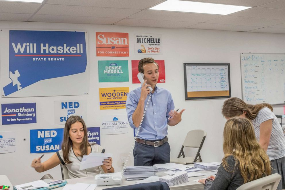 PHOTO: Will Haskell makes calls to voters during his run to represent the 26th district in Connecticuts state senate.