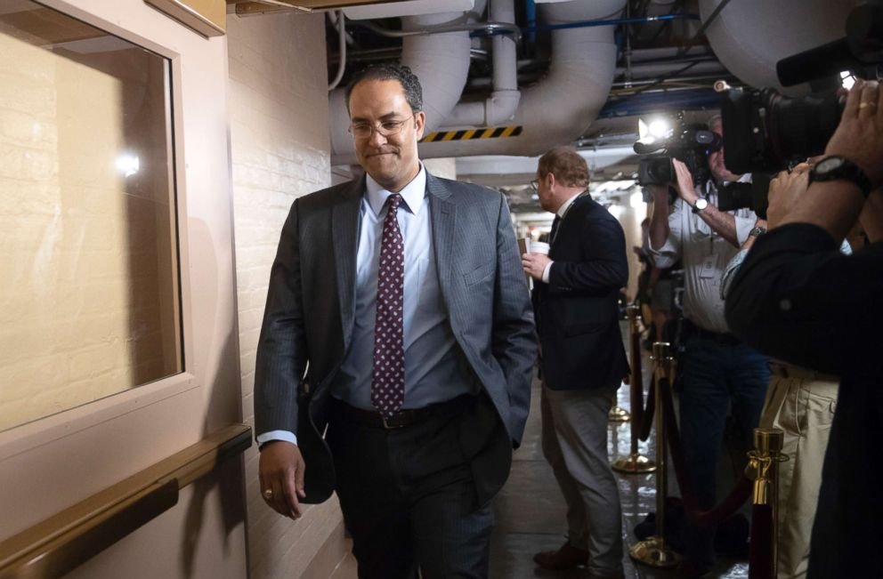 Rep. Will Hurd, whose congressional district runs along the majority of Texas's border with Mexico, arrives for a closed-door GOP meeting in the basement of the Capitol in Washington, June 7, 2018.