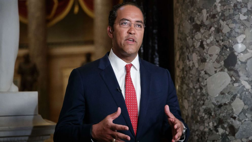 During a TV news interview, Rep. Will Hurd answers questions about immigration, border security and time running out to rewrite a trade pact with Canada and Mexico as negotiations stall on the North American Free Trade Agreement, on Capitol Hill in Washington, May 18, 2018.