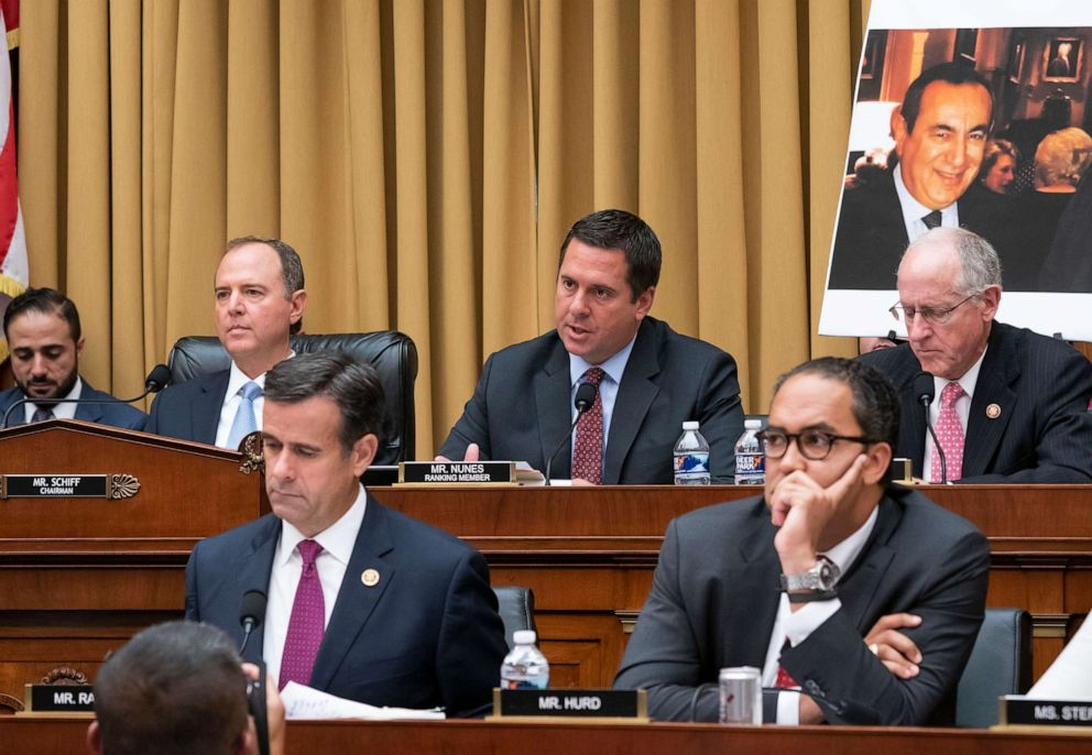 PHOTO: From top left, House Intelligence Committee Chairman Adam Schiff, Rep. Devin Nunes, and Rep. Mike Conaway, from bottom left, Rep. John Ratcliffe, and Rep. Will Hurd, are shown as Robert Mueller testifies in Washington, D.C., July 24, 2019.