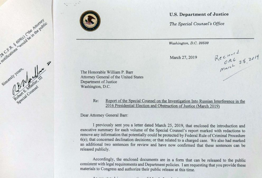PHOTO: The letter special counsel Robert Mueller sent to Attorney General William Barr on March 27, 2019 in Washington. (AP Photo/Wayne Partlow)