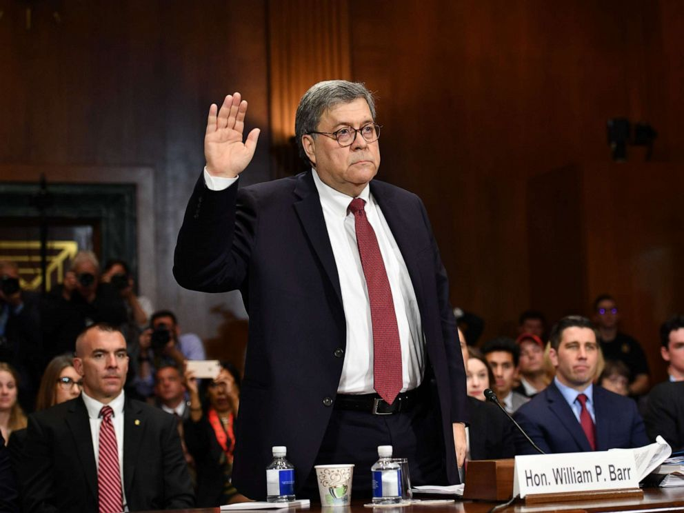 PHOTO: Attorney General William Barr is sworn in before testifying a the Senate Judiciary Committee on Capitol Hill in Washington, May 1, 2019.