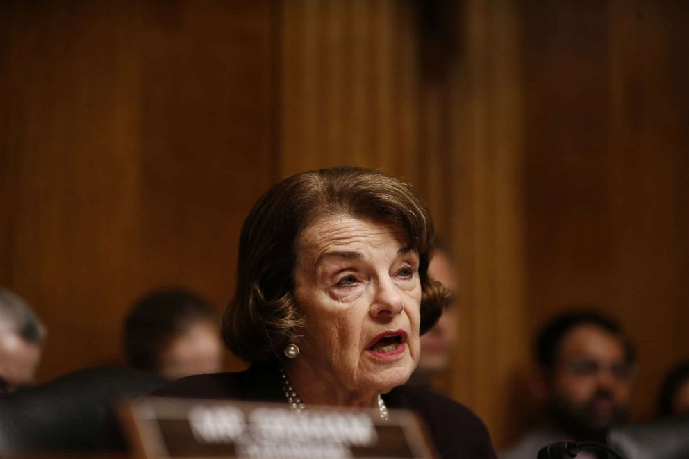 PHOTO: Sen. Dianne Feinstein, a Democrat from California and ranking member of the of the Senate Judiciary Committee, speaks during a hearing with William Barr in Washington, May 1, 2019.