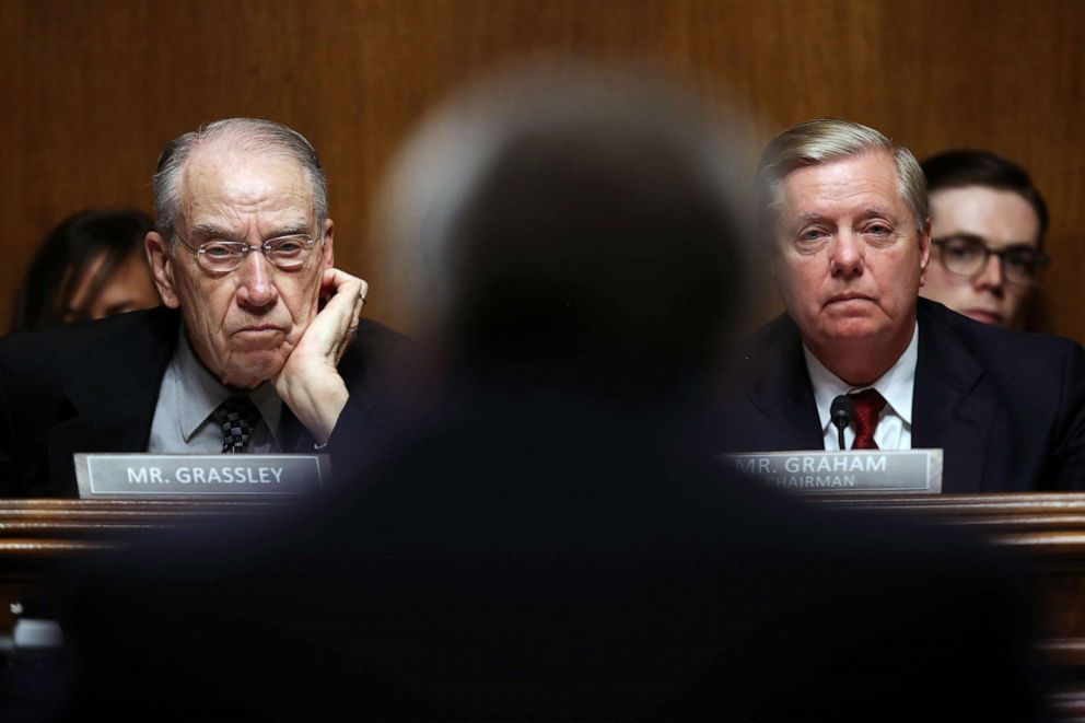 PHOTO: Sen. Lindsey Graham and Sen. Chuck Grassley listen to U.S. Attorney General William Barr testify before the Senate Judiciary Committee, May 1, 2019, in Washington.