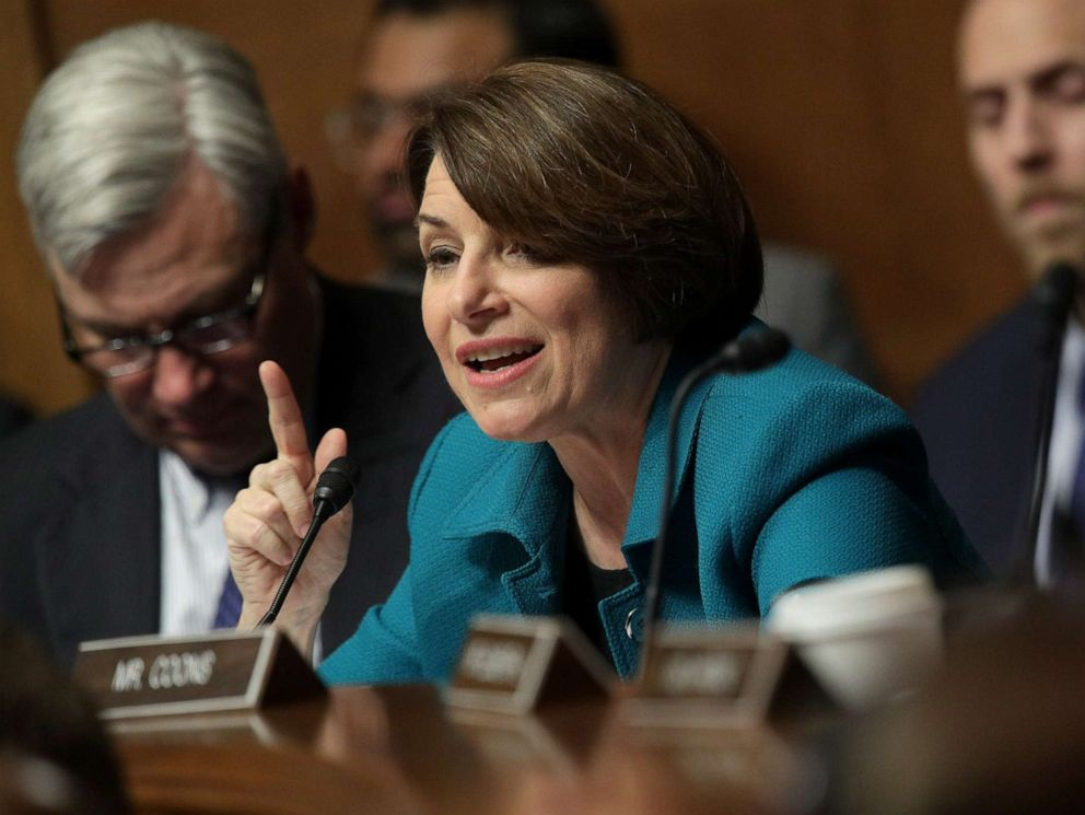 PHOTO: Sen. Amy Klobuchar speaks as U.S. Attorney General William Barr testifies before the Senate Judiciary Committee, May 1, 2019, in Washington.