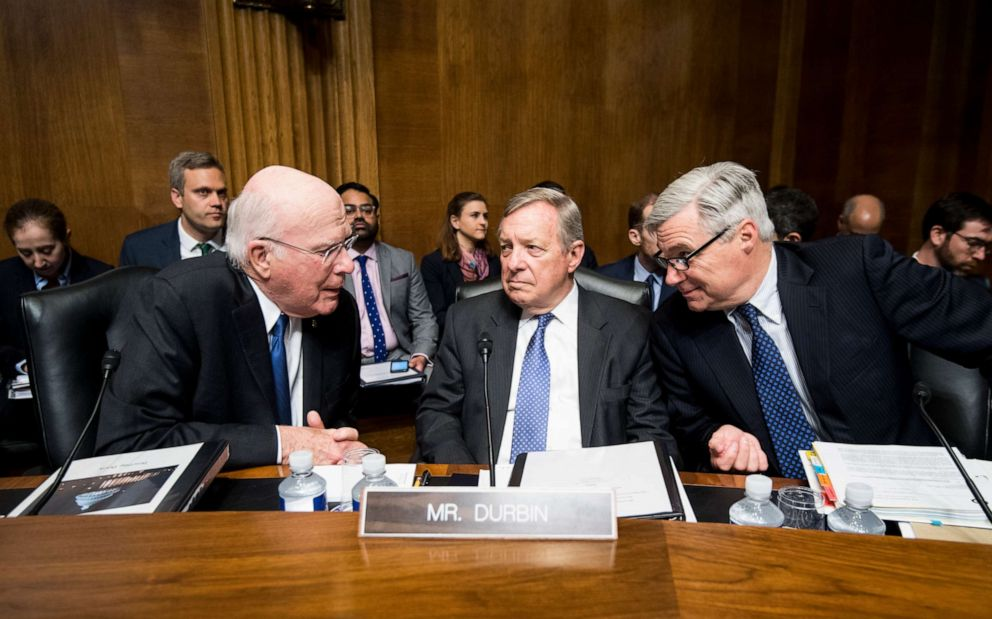 PHOTO: Sen. Patrick Leahy, Sen. Richard Durbin and Sen. Sheldon Whitehouse talk before the start of a Senate Judiciary Committee hearing in Washington, May 1, 2019.