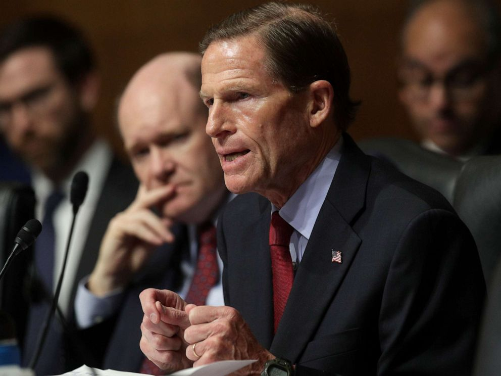 PHOTO: Sen. Richard Blumenthal speaks while U.S. Attorney General William Barr testifies before the Senate Judiciary Committee, May 1, 2019, in Washington.