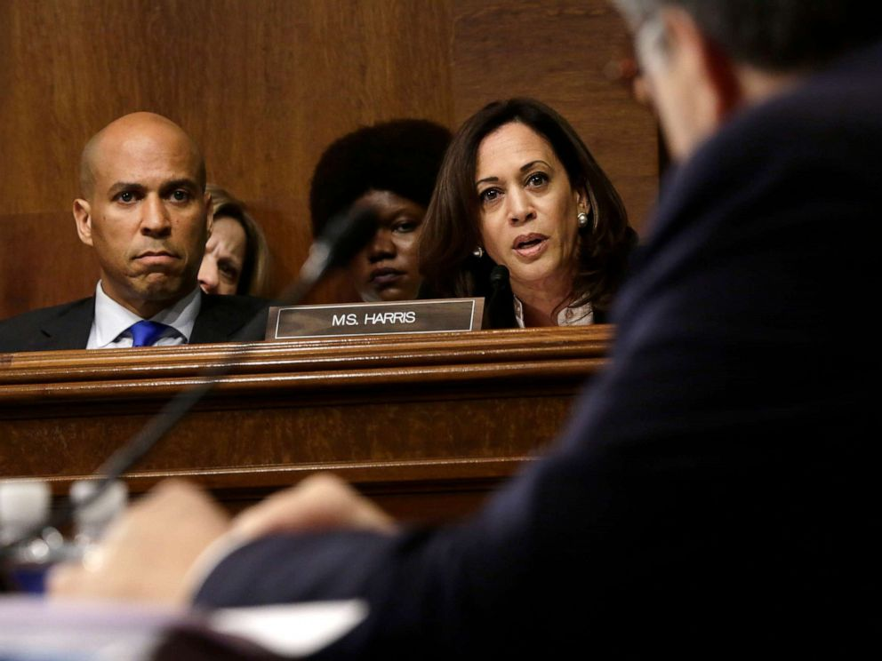 PHOTO: Sen. Kamala Harris speaks and Sen. Cory Booker listens as Attorney General William Barr testifies before the Senate Judiciary Committee, May 1, 2019 in Washington.