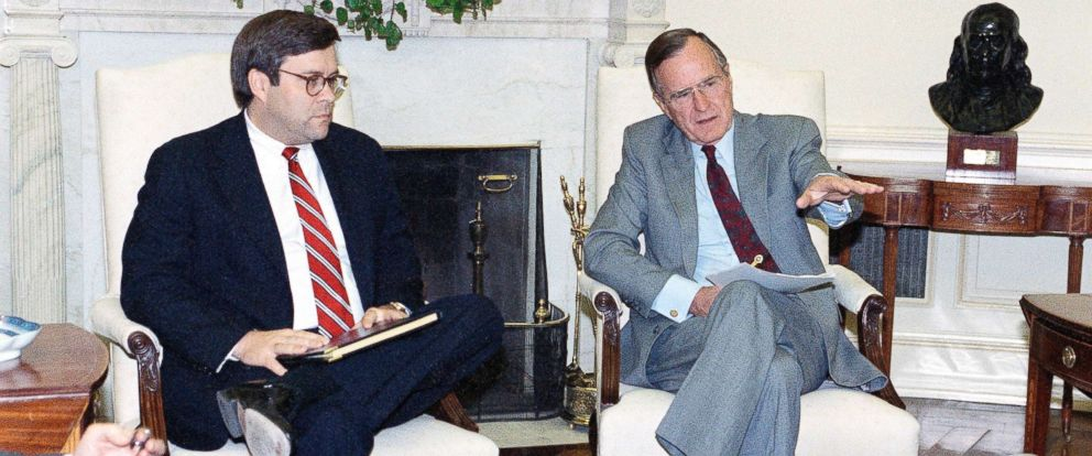 PHOTO: President George H. Bush gestures while talking to Attorney General William Barr in the Oval Office of the White House, May 4, 1992 in Washington.