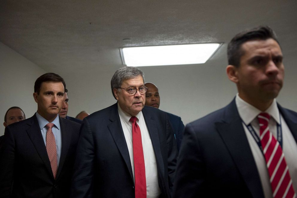 PHOTO: Attorney General William Barr spends his second day on Capitol Hill speaking with Congressional members about gun legislation, Sept. 18, 2019.