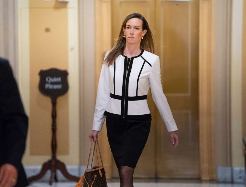 PHOTO: Jennifer Williams, a special adviser to Vice President Mike Pence for Europe and Russia who is a career Foreign Service officer, arrives for a closed-door interview at the Capitol, Nov. 7, 2019.