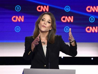 PHOTO: Democratic presidential hopeful author and writer Marianne Williamson gestures as she speaks during the first round of the second Democratic primary debate in Detroit, July 30, 2019.