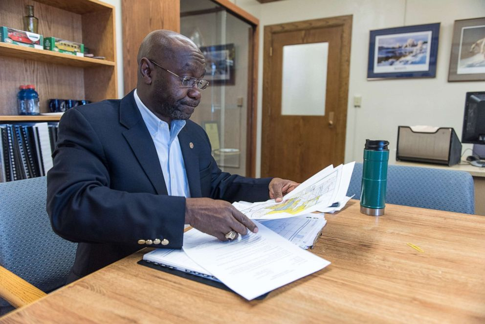 PHOTO: Wilmot Collins, the Mayor of Helena, Mont., prepares for a meeting during his first month in office, Jan. 31, 2018.