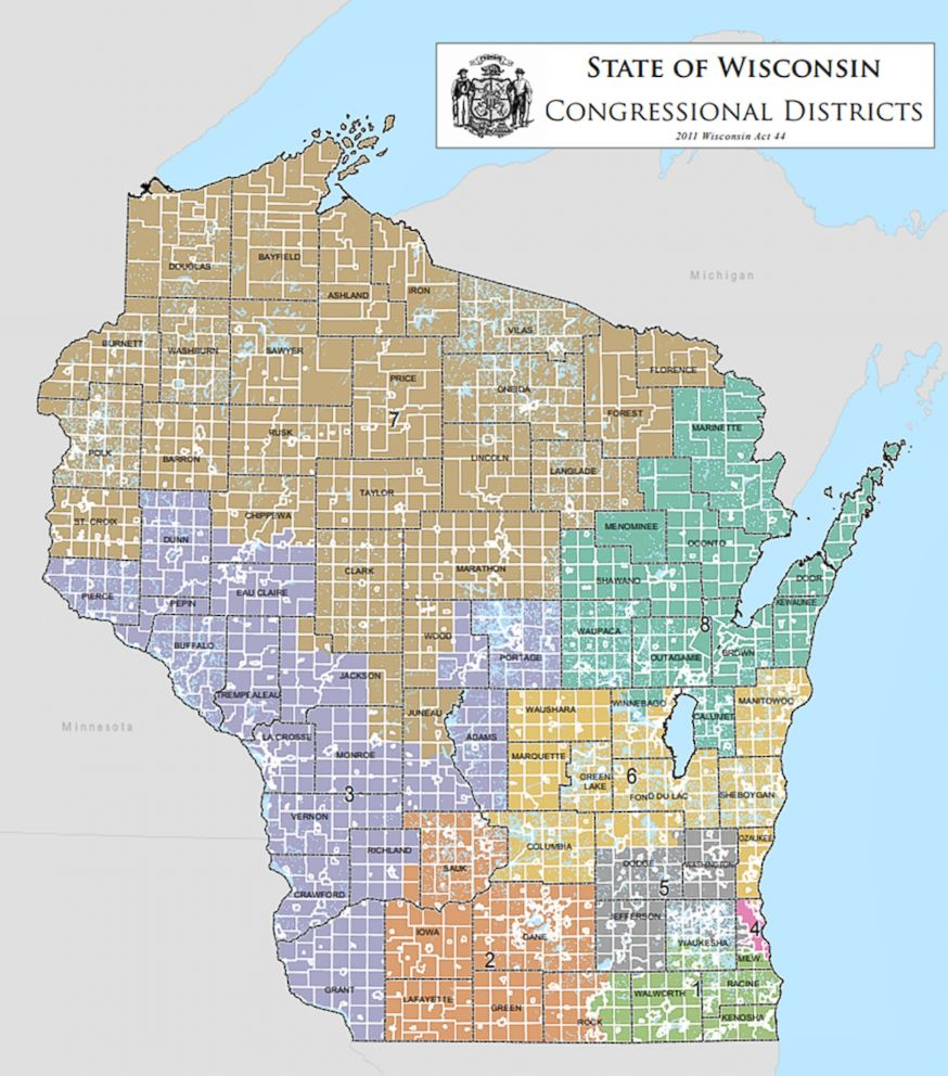 PHOTO: A map released by the Wisconsin legislature shows the states congressional districts.