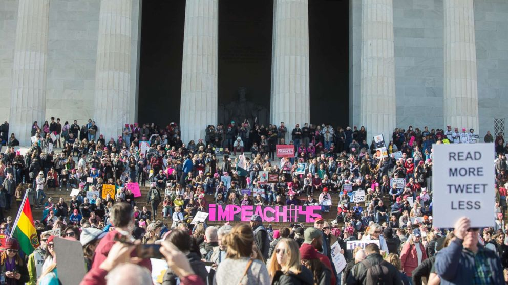 People gather on the steps of the Lincoln Memorial during the Women's March on Washington 2018: March On The Polls!, Jan. 20, 2018, in Washington D.C.