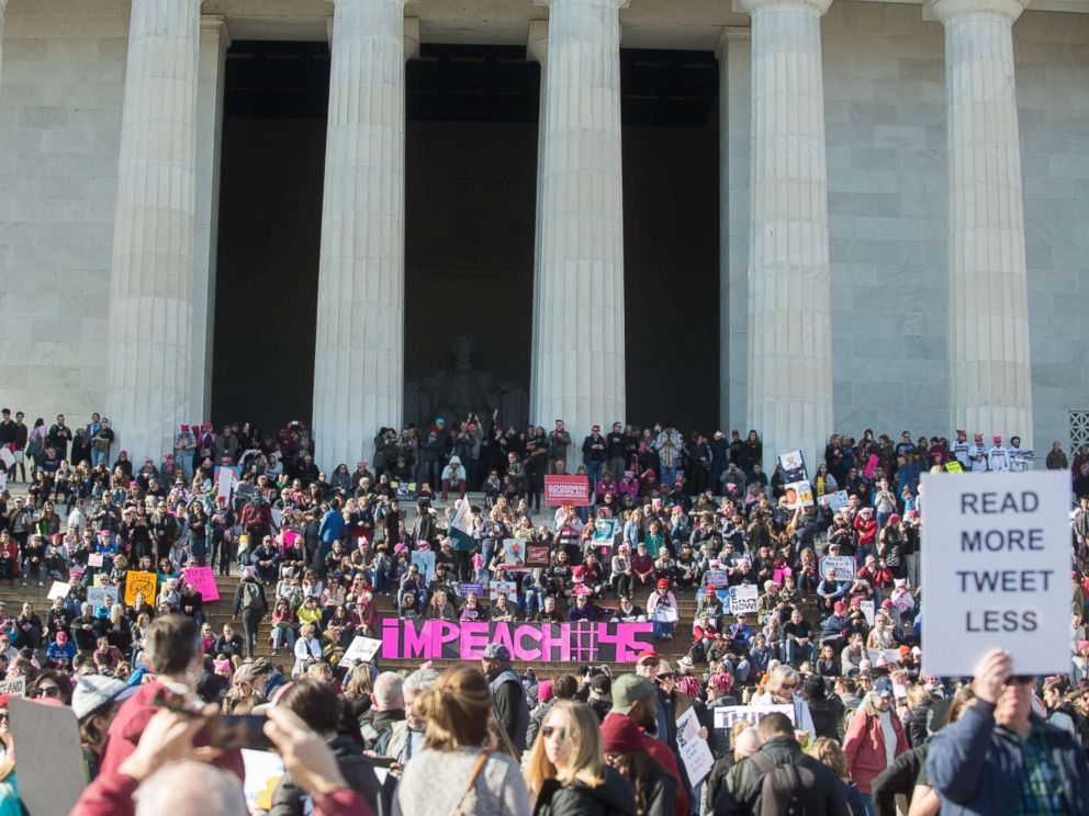 PHOTO: People gather on the steps of the Lincoln Memorial during the Womens March on Washington 2018: March On The Polls!, Jan. 20, 2018, in Washington D.C.