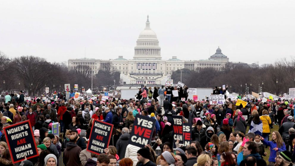 Demonstrators gather outside the Capitol Building during the Women's March On Washington, Jan. 21, 2017.