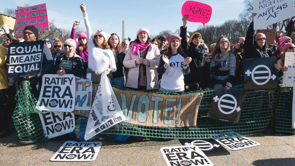People gathered on the steps of the Lincoln Memorial in Washington, D.C. for the second Women's March on Washington, Jan. 20, 2018.