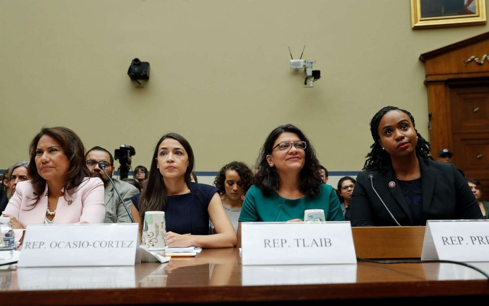 PHOTO:From l-r., Rep. Veronica Escobar, D-Texas, Rep. Alexandria Ocasio-Cortez, D-NY., Rep. Rashida Tlaib, D-Mich., and Rep. Ayanna Pressley, D-Mass., take their seats to testify before the House Oversight Committee, July 12, 2019, on Capitol Hill.