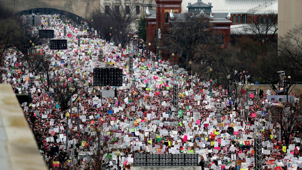 A crowd fills Independence Avenue during the Women's March on Washington, Jan. 21, 2017. The sea of women in bright pink hats in Washington, D.C., and across the nation, was described as the largest single-day protest in U.S. history.