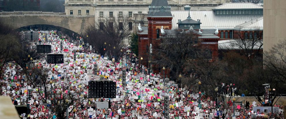 PHOTO: A crowd fills Independence Avenue during the Womens March on Washington, Jan. 21, 2017. The sea of women in bright pink hats in Washington, D.C., and across the nation, was described as the largest single-day protest in U.S. history.
