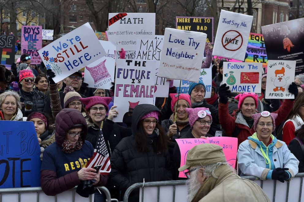 PHOTO: Thousands gather on Cambridge Common to mark the one year anniversary of the inauguration of President Donald Trump at The Cambridge/Boston Womens March 2018: The People Persist in Boston, Jan. 20, 2018.