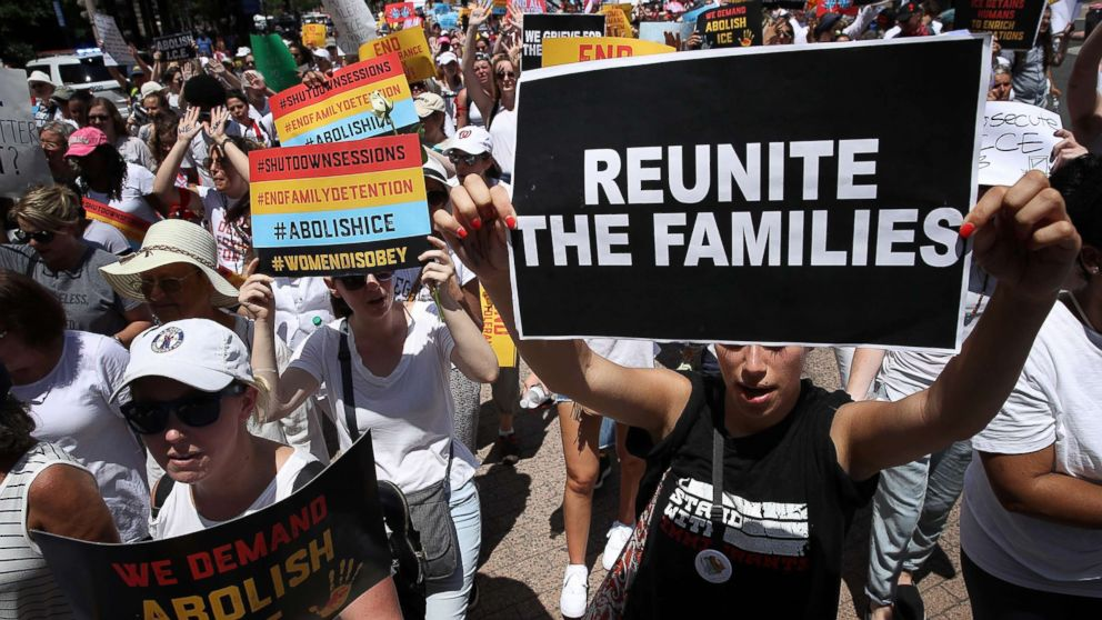 Protesters march from Freedom Plaza to demonstrate against family detentions and to demand the end of criminalizing efforts of asylum seekers and immigrants June 28, 2018 in Washington, D.C.