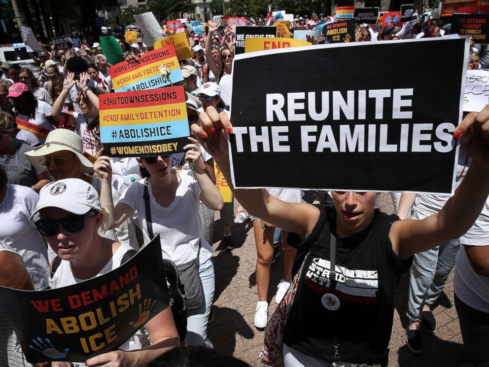PHOTO: Protesters march from Freedom Plaza to demonstrate against family detentions and to demand the end of criminalizing efforts of asylum seekers and immigrants June 28, 2018 in Washington, D.C.