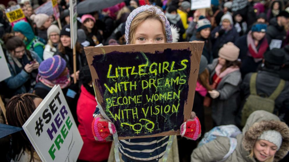 Orla Dean, 5, holds a placard during the Time's Up rally at Richmond Terrace, opposite Downing Street, Jan. 21, 2018 in London. The Time's Up Women's March marks the one year anniversary of the first Women's March in London and in 2018 it is inspired by the Time's Up movement against sexual abuse.
