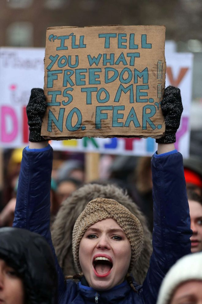PHOTO: A protester holds up a placard during the Womens March in central London, Jan. 21, 2018 as part of a global day of protests.