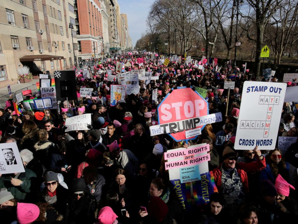 PHOTO: People take part in the Womens March in Manhattan in New York, Jan. 20, 2018.
