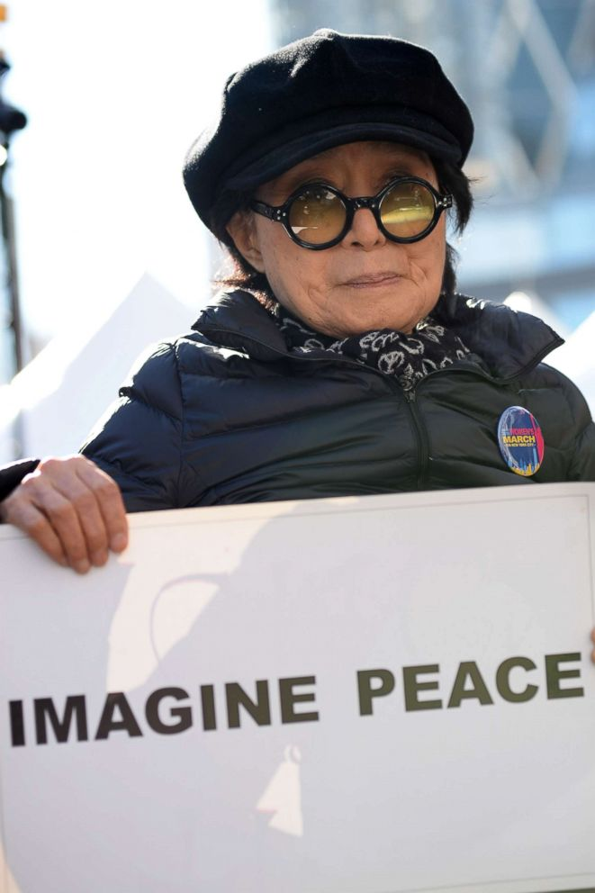 PHOTO: Yoko Ono at the Womens March rally in New York City, Jan. 20, 2018.