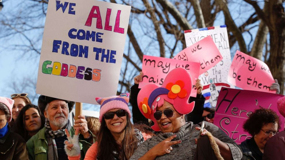 People gather prior to the second annual Women's March, Jan. 20, 2018 in New York City.
