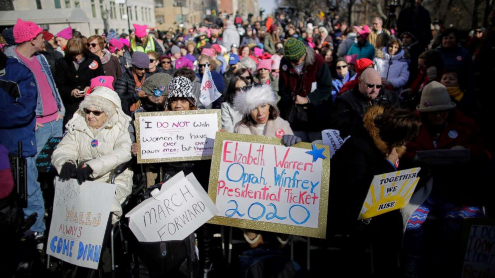 People take part in the Women's March in New York City, Jan. 20, 2018.
