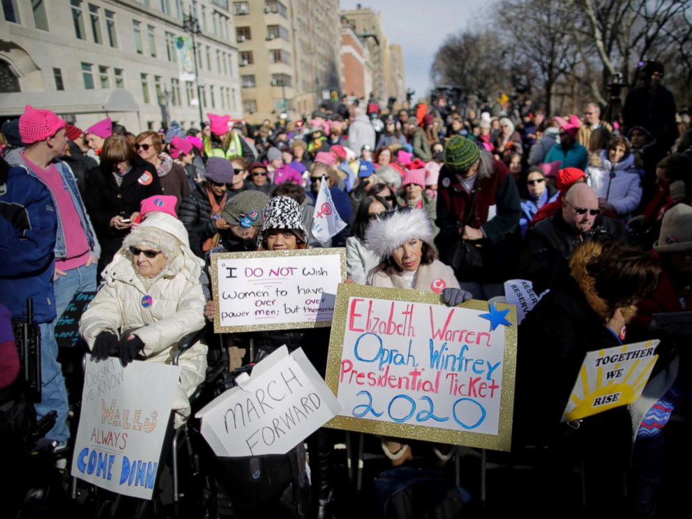 PHOTO: People take part in the Womens March in New York City, Jan. 20, 2018.