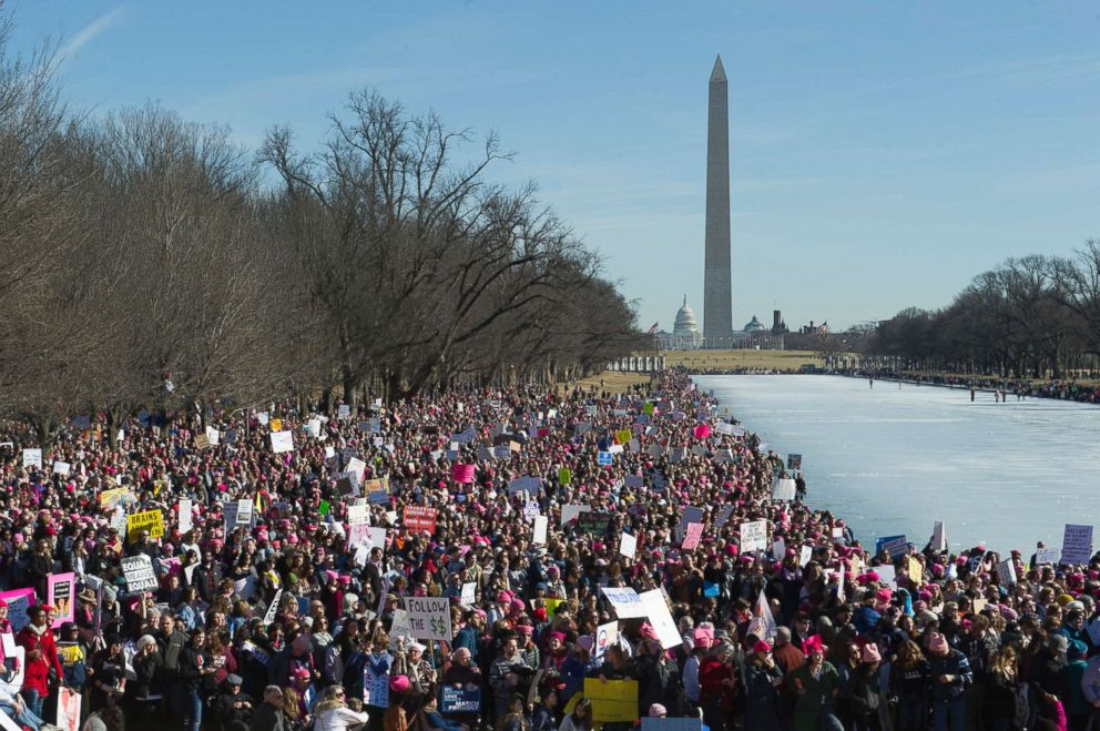 PHOTO: Participants in the Womens March gather near the Lincoln Memorial in Washington, D.C., Jan. 20, 2018.