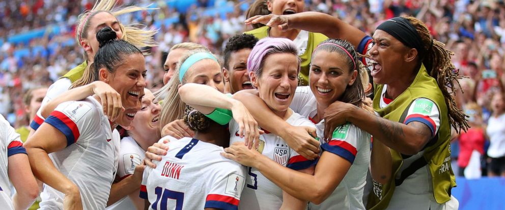 PHOTO: Megan Rapinoe of the U.S. celebrates with teammates after scoring her teams first goal during the 2019 FIFA Womens World Cup France Final match between the U.S. and The Netherlands at Stade de Lyon on July 07, 2019 in Lyon, France.