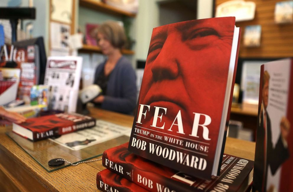 PHOTO: The newly released book Fear by Bob Woodward is displayed at Book Passage on September 11, 2018 in Corte Madera, Calif. The new book Fear by Bob Woodward about the Trump administration hit store shelves today.