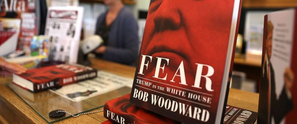 "PHOTO: The newly released book ""Fear"" by Bob Woodward is displayed at Book Passage on September 11, 2018 in Corte Madera, Calif. The new book ""Fear"" by Bob Woodward about the Trump administration hit store shelves today."
