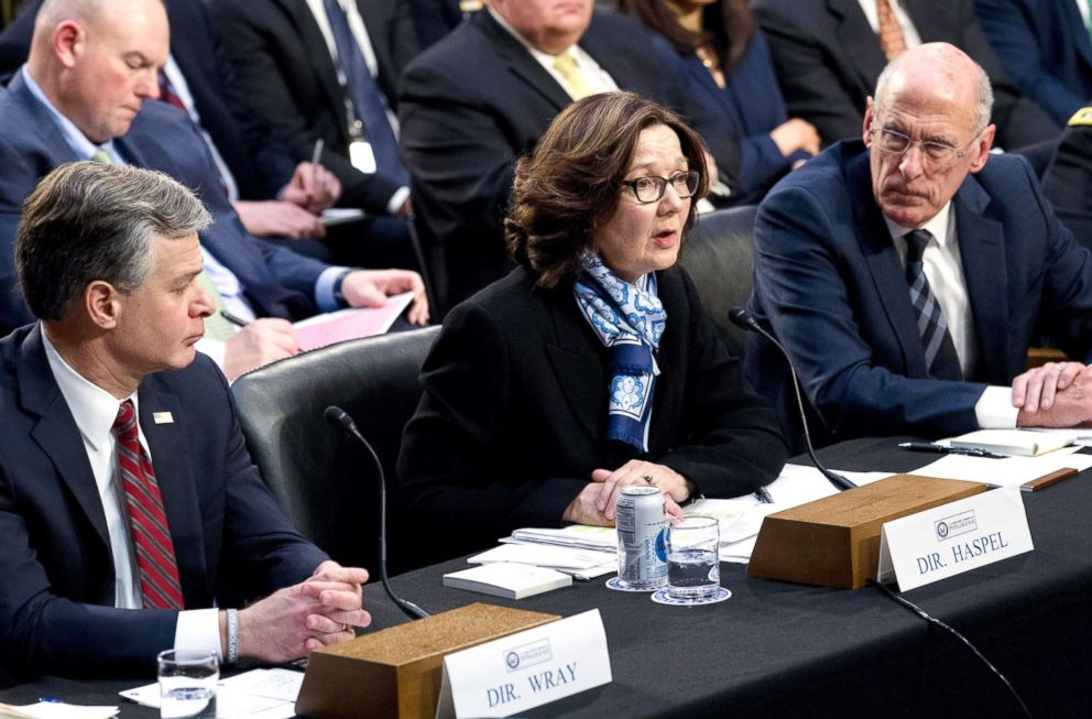PHOTO: CIA Director Gina Haspel accompanied by FBI Director Christopher Wray and Director of National Intelligence Daniel Coats testifies before the Senate Intelligence Committee on Capitol Hill in Washington. Jan. 29, 2019.