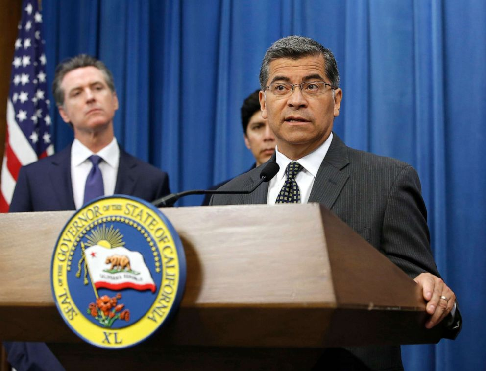 PHOTO: Attorney General Xavier Becerra speaks at the podium during a news conference in Sacramento, Calif., June 25, 2019.