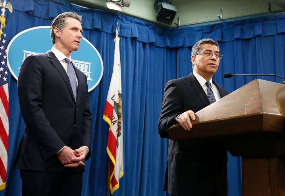 PHOTO: California Attorney General Xavier Becerra, accompanied by Gov. Gavin Newsom, said California will probably sue President Donald Trump over his emergency declaration to fund a wall on the Mexico border, Feb. 15, 2019, in Sacramento, Calif.