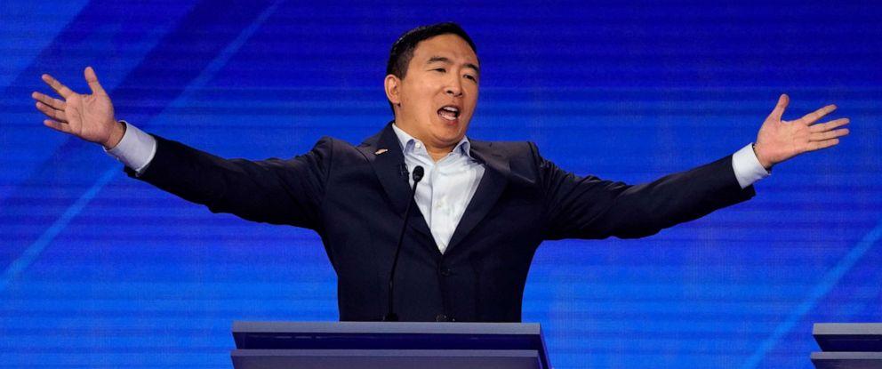 PHOTO: Entrepreneur Andrew Yang reacts during the 2020 Democratic presidential debate in Houston, Sept. 12, 2019.