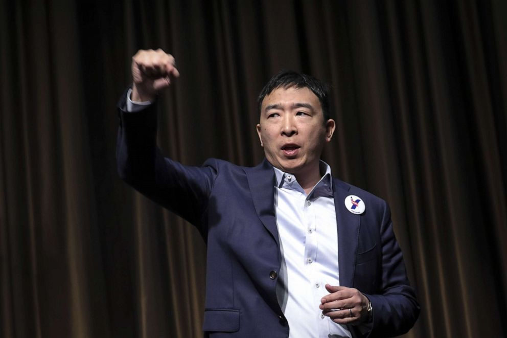 PHOTO: Entrepreneur and Democratic presidential candidate Andrew Yang exits the stage after speaking at the National Action Networks annual convention, April 3, 2019, in New York.