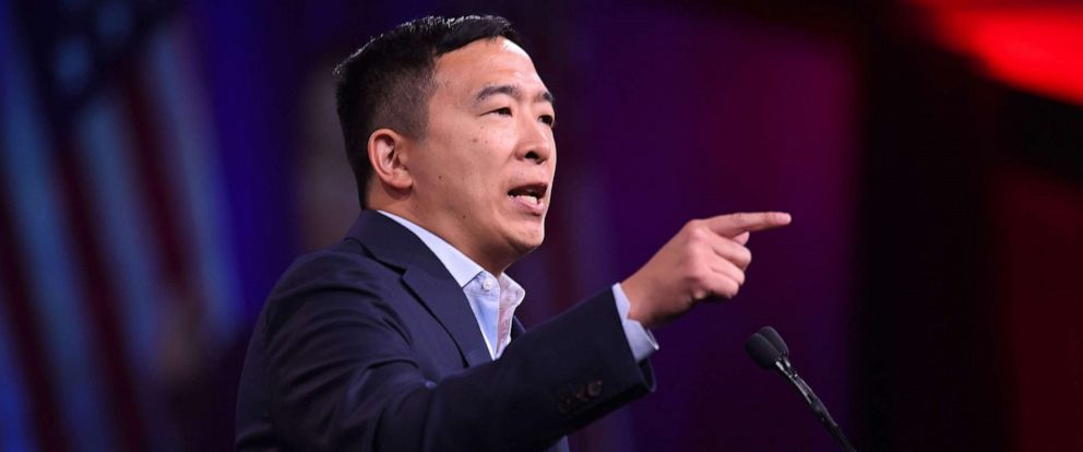 PHOTO: 2020 Democratic Presidential hopeful Andrew Yang speaks on-stage during the Democratic National Committees summer meeting in San Francisco, Calif., Aug. 23, 2019.
