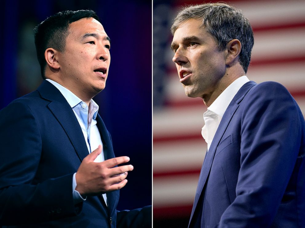 PHOTO: Andrew Yang, left, and Beto ORourke